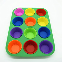 Microwave Oven 12 Cup Muffin Pan,Silicone Muffin Pan with Cupcake Liner,Nonstick Silicone Bakeware for Biscuits