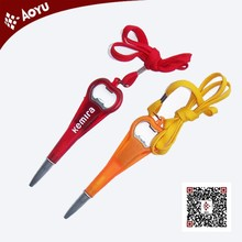 Bussiness gift: high quality bottle opener ball pen with cord China customize(have different types))