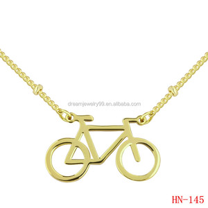 personalized three colors option bicycle charm bead chain necklace design jewelry engraved necklace