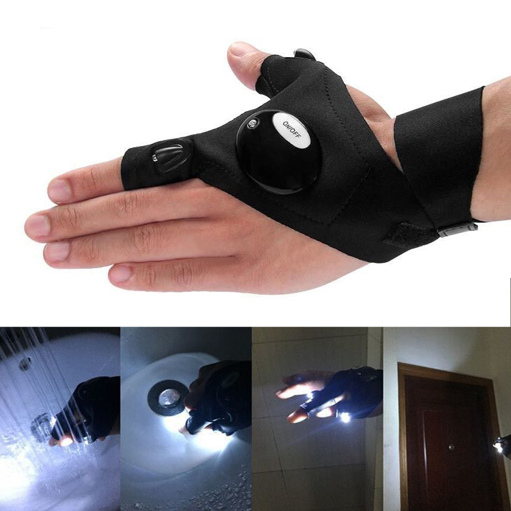 Fingerless LED Gloves Fishing Magic Strap LED Flashlight Camping Hiking Light Left/ Right Hand Luminous Gloves