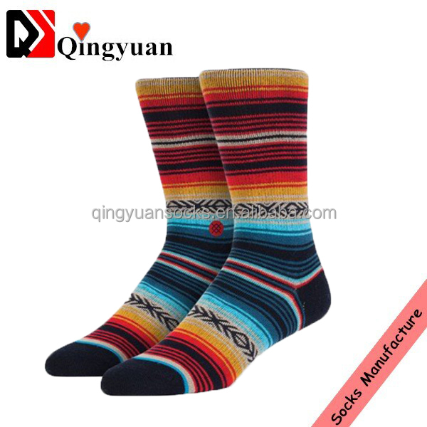 Breathable Cotton socks Custom design Wholesale men Elite Bamboo Sock stripe pattern socks