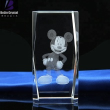 Customized 3d 레이저 mickey mouse crystal cube crystal gifts