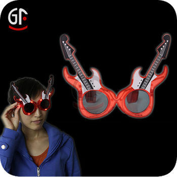 Top Grade Hot Selliing Guitar Shaped Flashing Led Sunglasses For Concerts