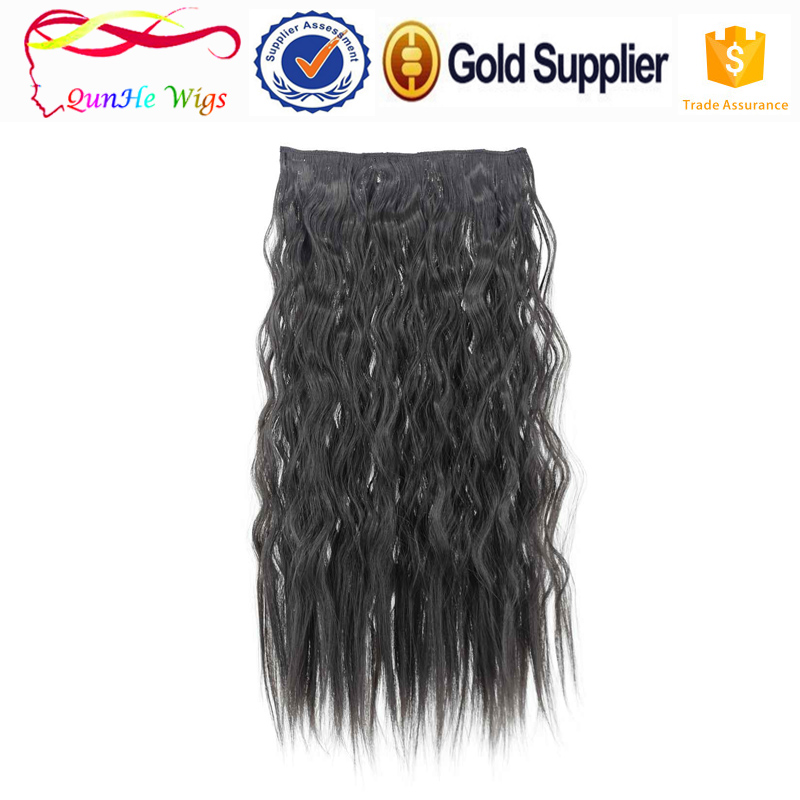 Half long deep wave corn perm fake hair synthetic clip in hair wig