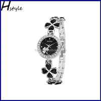 Fashion vogue Clover crystal geneva ladies watch women hand bracelet wrist watch Black WP024