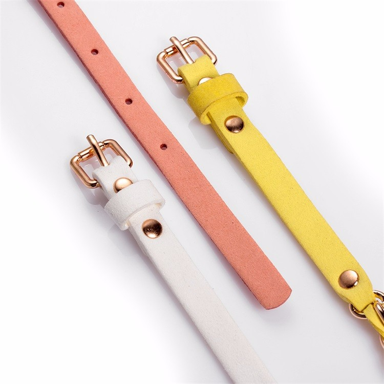 Skinny Leather Waist Belts Yellow Combined Chain Leather Belts Ladies Dressing Belts Accessory