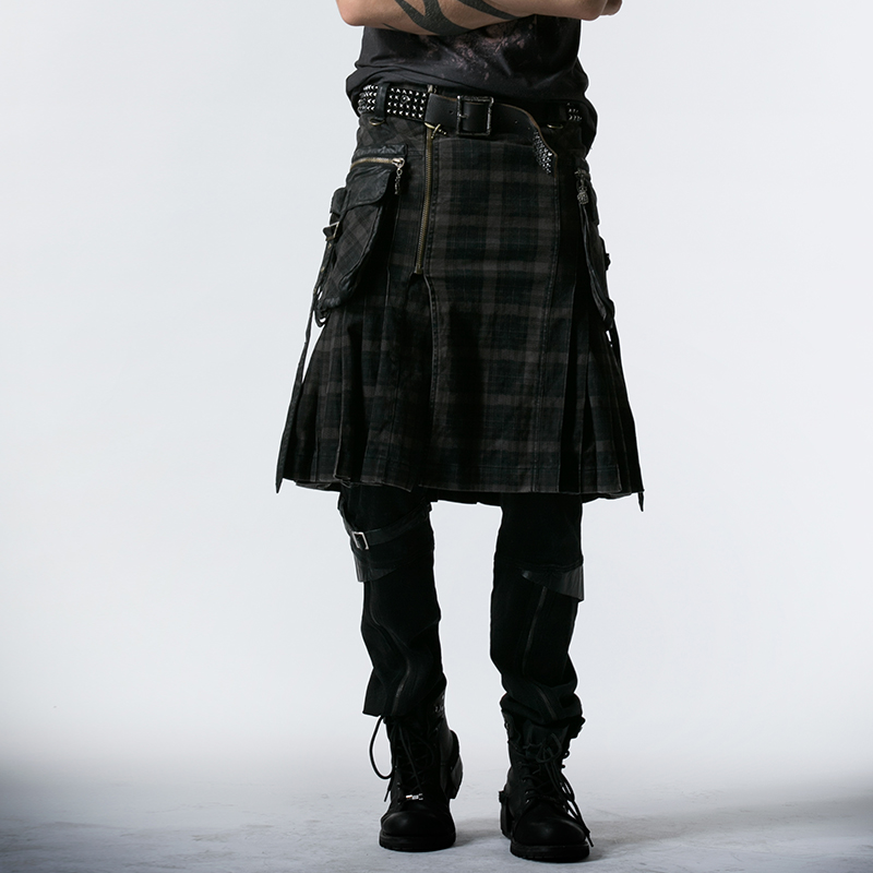 Q-225 Personality grid material Fashion punk rave men skirts/kilts
