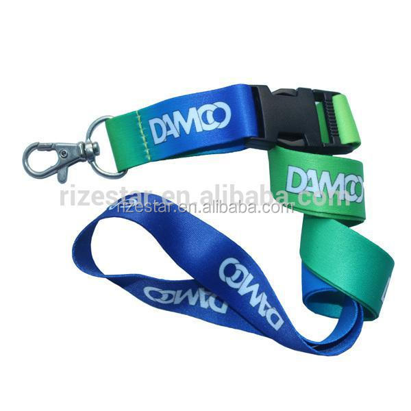 2016 heat transfer printing lanyard with half metal buckle clip