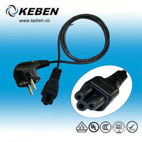 Eu/Europe/European 3 pin power cord with C13 electrical plug