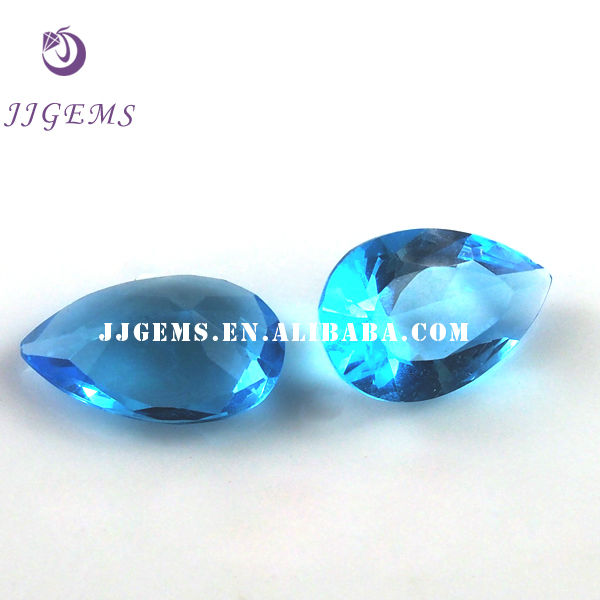 synthetic pear factory price cz ceylon blue sapphire
