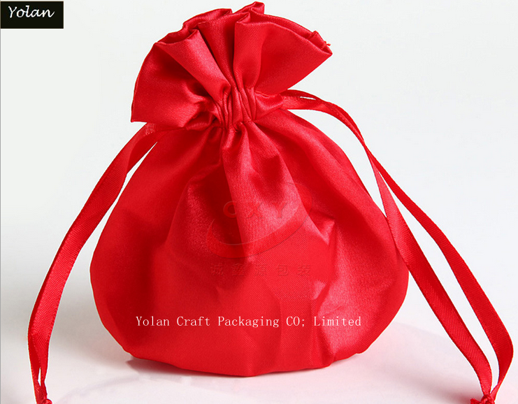 Red Silk Satin Bag, Drawstring Bag