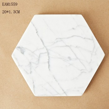 Hexagon coaster for popular homewares in white marble