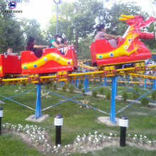 Cheap outdoor amusement park attraction family and kids carnival game 16 seats sliding dragon mini roller coaster rides for sale