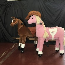 2016 Frame retardant long plush rocking toy mechanical horse on wheels for sale, ride on furry animal toys horse for kids sit an