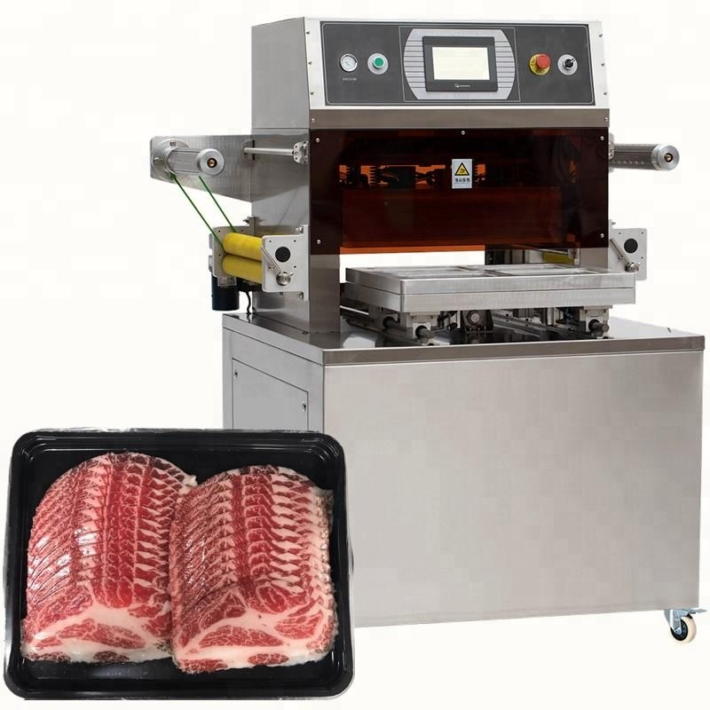 Automatic bacon meat vacuum skin packaging machine