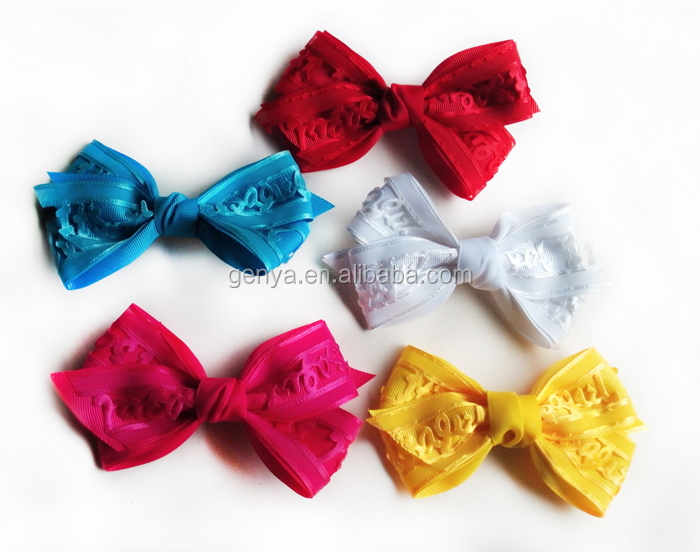 New designs Lace letter large bow hair clips