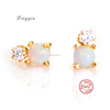 lye0146 New 925 sterling silver white opal stud earring