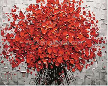 red knife flower DIY number canvas oil painting