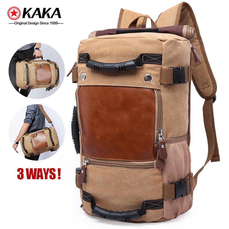 2020 factory hot sell kaka 40L blank canvas backpack For Men 3 way Waterproof Laptop <strong>Bag</strong> rucksack canvas backpack <strong>bag</strong>