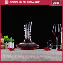 Dongjiu 1800ml hand-made Clear Lead-free Crystal glass Wine Decanter with Swirl on neck