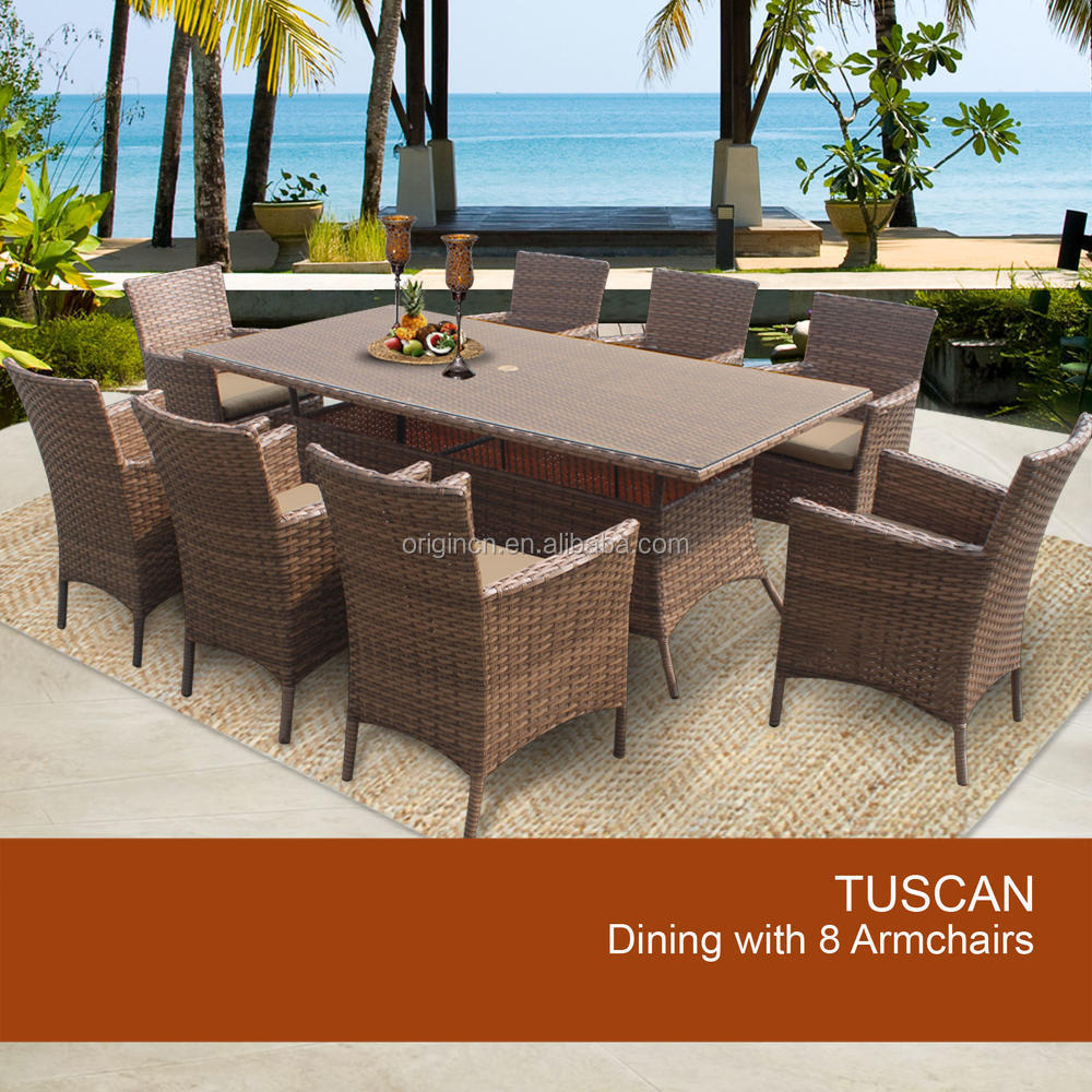 Modern Patio Set For Picnic Caramel Color Outdoor Rattan Dining Table And Cha