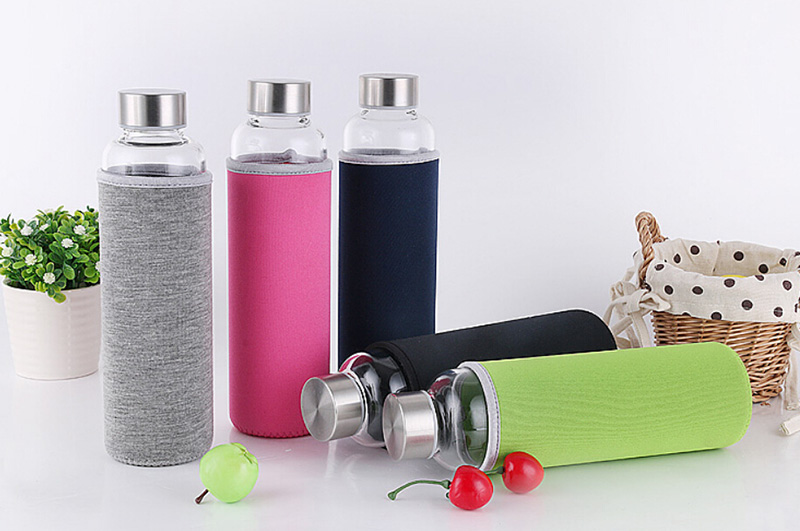 550ml Eco-friendly Borosilicate Glass Water Bottle,BPA-Free Sports Bottle,Leak-proof Stainless Steel Cap with Nylon Sleeve