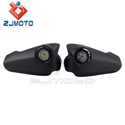 "ZJMOTO MOTOCROSS 1"" 7/8"" HAND GUARDS CARBON Motorcycle Handguard w/ Running Lights Handlebar FIT TO SUZUKI KTM SUPERMOTO"