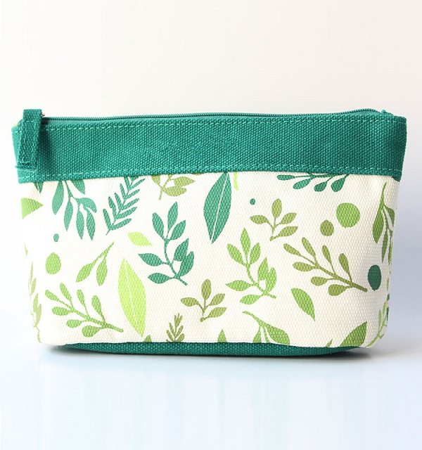custom high quality cotton canvas zippered pouch