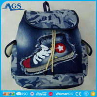 China factory manufacture Middle two sided shoulder bag school backpack for students