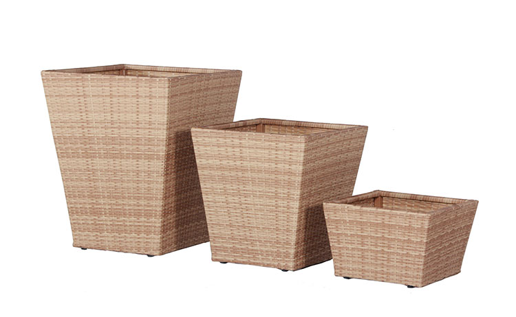 Wicker planters synthetic rattan flower pot rectangular wicker planter