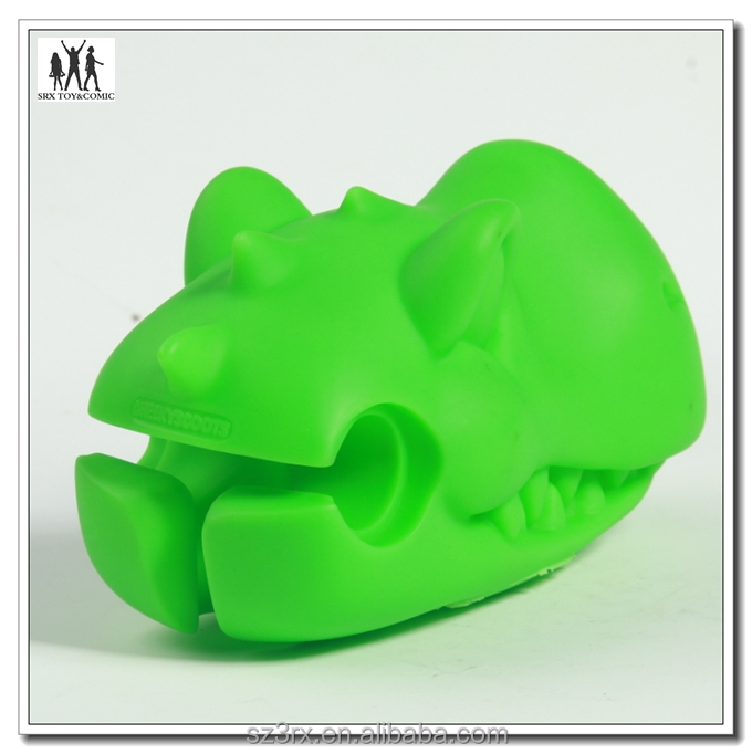 Children lovely soft vinyl plastic dragon head for baby scooter car handle, factory custom made scooter handle decoration toy