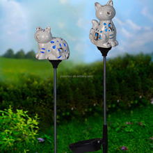 Ceramic cat solar garden light