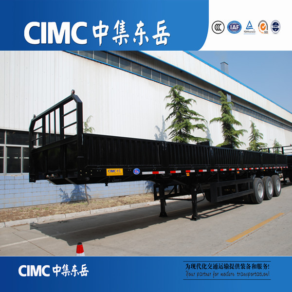CIMC High Quality Tri-axle Side Wall Semi Trailer/Cargo Rail Track Trailer For Sale