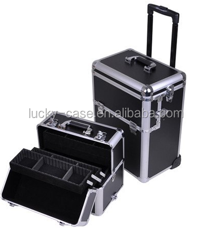 Wholesale Aluminum Beauty Trolley Nail Polish Organizer Carrying Cases/Rolling Nail Case