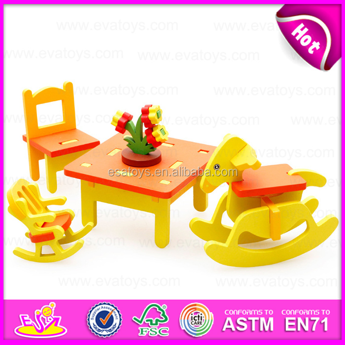 Funny play wooden DIY 3D furniture puzzle for kids,Non-toxic distribution Block furniture with house 3D puzzle W03B041
