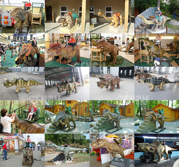 Children playground amusement rides dinosaur