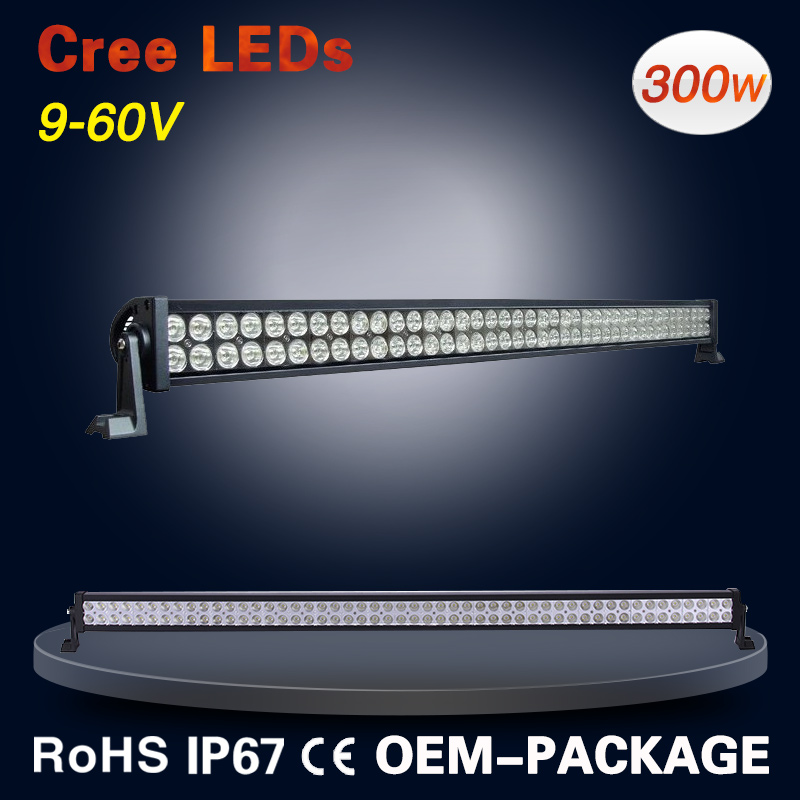 Wholesale 9-60V 300W 52 inch led offroad light bar with free logo 36W 72W 120W 180W 240W 288W 300W
