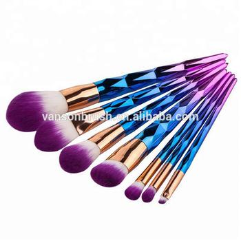 OEM Rainbow Color 7pcs Vegan Makeup Brush Set Diamond Handle Makeup Brush