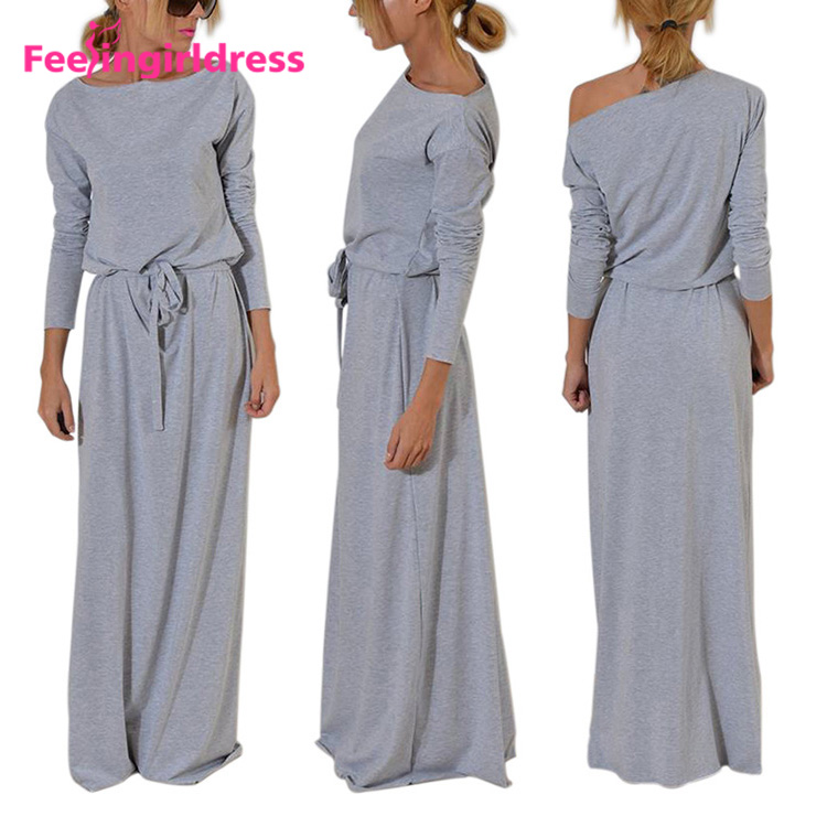 Factory Price Casual Grey Elastic Waist Long Sleeves Women Clothing Maxi Dress