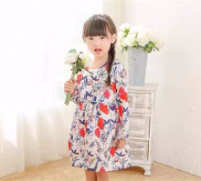 Summer Long Sleeve Girl Prints Kids Baby Girls Frocks Designs 2017
