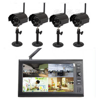 "4-cameras 1-monitor 7"" Wireless IR Baby Monitor Home Security CCTV Video Record"