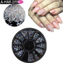 12 Grids/wheel Glass AB pointed back mix size nail Micro Strass Rhinestones Crystals Jewelry Stones for 3D Nail Art Decorations