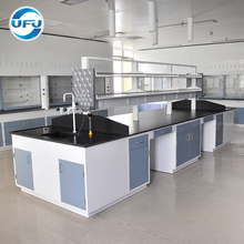 Hot Selling Science Laboratory Furniture Full Steel Work Table with Reagent Shelf