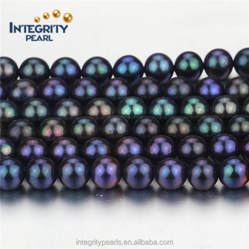 7-8mm full round AA grade freshwater peacock black pearl beads in bulk