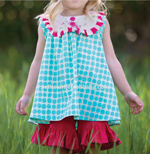 2015 Cute Baby Clothing Children Short Clothing Set Big Polka Dot Girls boutique Clothing Outfit