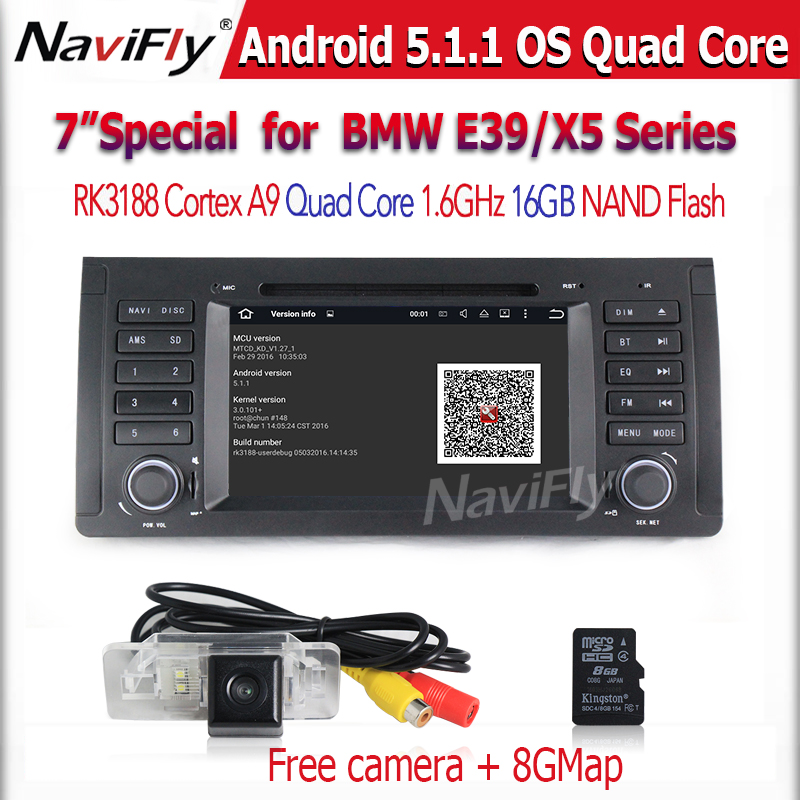 Android 5.1.1 Autoradio Car DVD Player for E39 X5 E53 M5 with GPS Navigation Stereo Radio Bluetooth SWC USB AUX WIFI