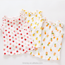 KS10396G Full fruits print design girls summer sleeve top pictures of girls cotton tops