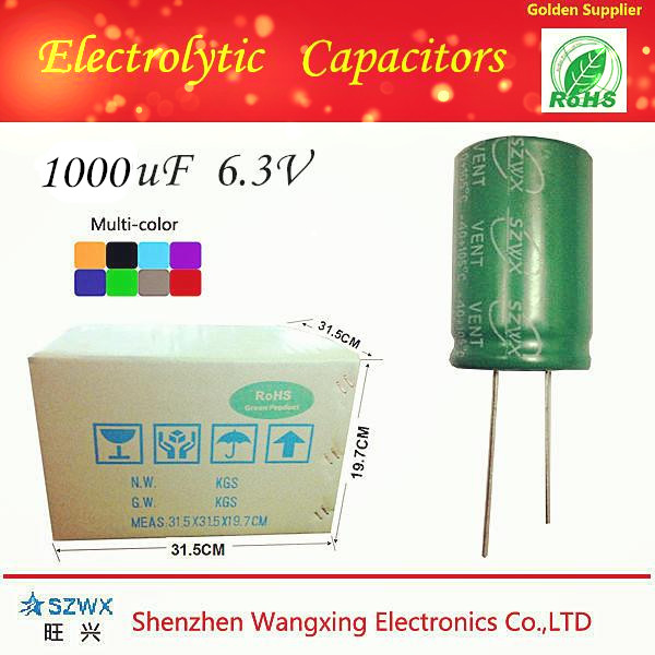 Direct manufacturer 1000uf 6.3v electrolytic capacitor with low ESR and high quality for sale