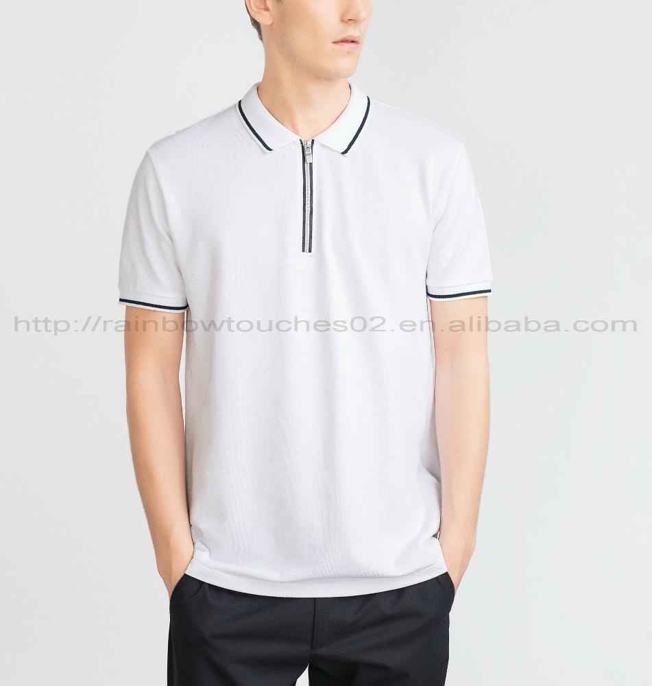 Zip up color combination cotton design no button polo for No button polo shirts
