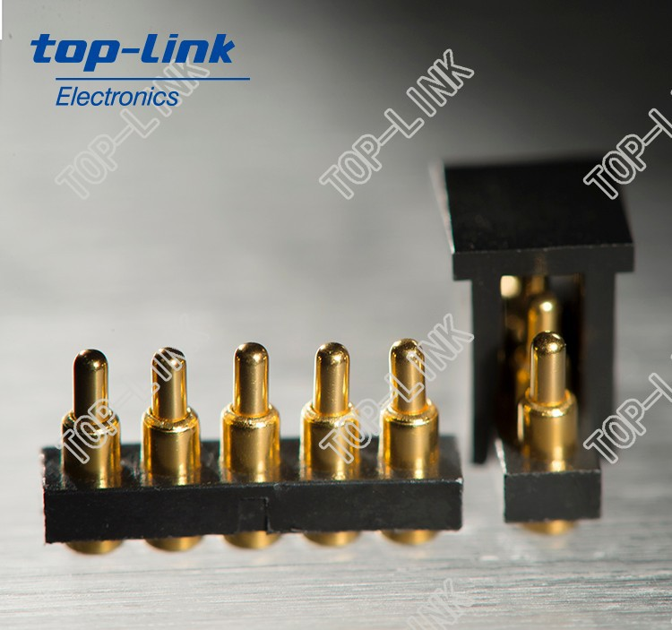 Spring probe connector with 5 SMD pogo contact pin